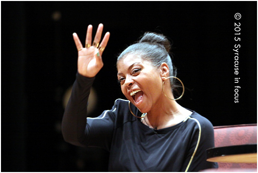 Actress Taraji P. Henson shouts out her DC fans during a visit to Syracuse University.