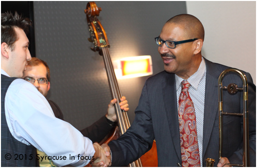 Marsalis gives some dap to high school piano prodigy Will Gorman during the jam session.