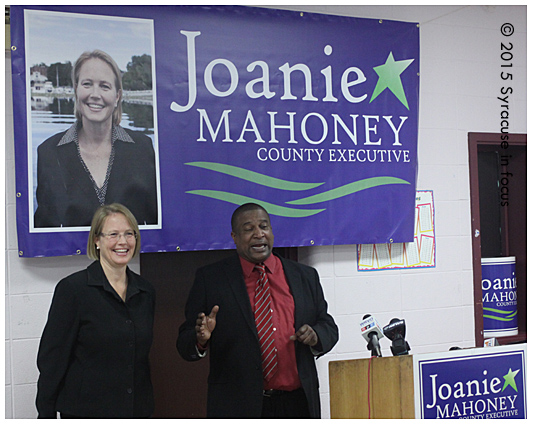 "Outgoing National Action Network Director Walt Dixie called a meeting this afternoon to announce he was supporting Joanie Mahoney, CNY's ""big tent"" republican for County Executive. Mahoney is seeking her second re-election to the post."