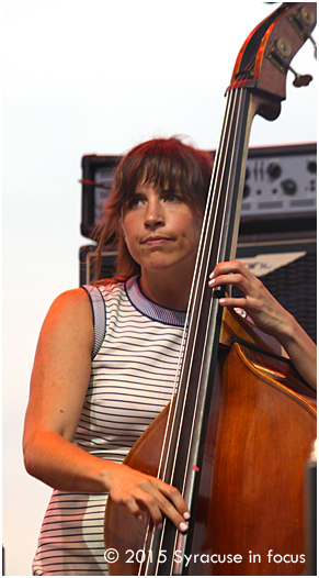 Lake Street Dive's Bridget Kearney let her fingers do the walking during an evening set on Day 2 of Syracuse Jazz Fest.