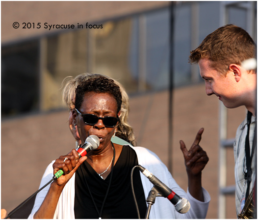 Carolyn Kelly saluted Dunham Hall during her set at the NYS Blues Festival yesterday.