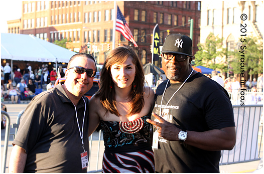WAER-FM's Eric Cohen, Ionana Vitu and Mike Houston chill back stage on Day 1 of the Northeast Jazz & Wine Festival.