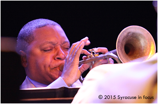 Wynton Marsalis played with the Jazz at Lincoln Center Orchestra for the Syracuse Jazz Fest on Friday.