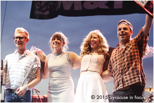 The members of Lake Street Dive are young, but they have a mature sound that appealed to the Syracuse audience (young and old alike), especially the powerful vocals of Rachael Price (second from right).