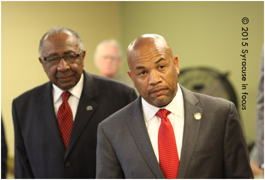 Assembly Speaker Carl Heastie (pictured with Syracuse Common Council President Van Robinson, left)