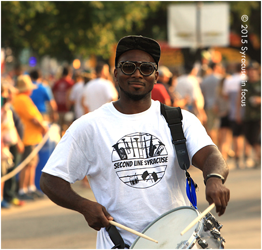It was great to see that Second Line Syracuse made an appearance in the daily parade at the New York State Fair. The band really gets around. Here is a picture of Byron Cage, who always seems to enjoy playing for the people. The band will appear in the Parade again tomorrow.