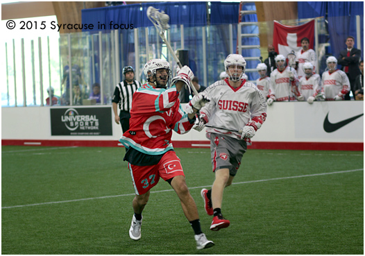 Nabil Akl scores a goal in the first period for the Turkish National Team at the Village Pavillion. Turkey's first-ever World Indoor Lacrosse Championship opponent was Switzerland.