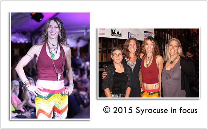 Here's further evidence that Syracuse University faculty are the best dressed in the conference. VPA professor Holly Greenberg models fashions from Michelle DaRin during the Syracuse Style (left) and enjoys the post runway show festivities with her friends. Last night's show in Armory Square was the finale for Syracuse Fashion Week.