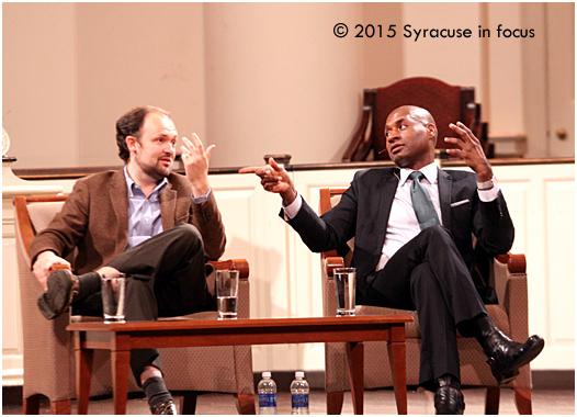 Ross Douthat and Charles Blow staged a public conversation for last night's University Lecture Series at Hendricks Chapel.