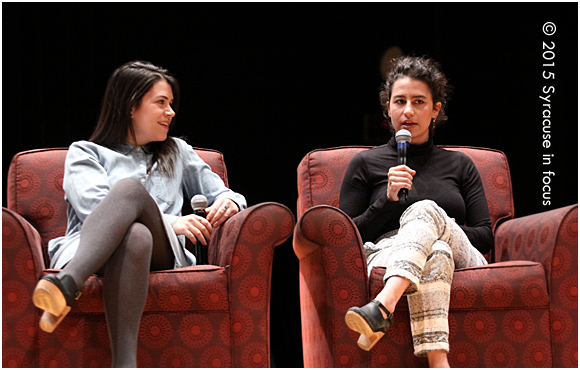 Abbi Jacobson and Ilana Glazer visited Syracuse University on Saturday night and were interviewed by University Union's Alli Reich (not pictured).