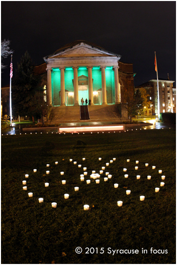 Syracuse University's Quad was filled with light for the Diwali Festival and the Green Light a Vet celebrations on Thursday evening.