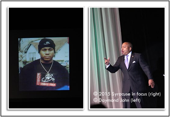 """Fashion entrepreneur and TV star Daymon John talked about the influence of LL Cool J on his business development at the Brazzlebox Small Business Summit on Wednesday. This was the first photo for his FUBU """"campaign"""" that John snapped back in the day.  John said what Michael Jordan was to Nike, LL was to FUBU."""