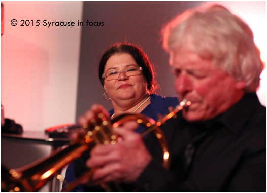 Cookie Coogan admires the trumpet work of J.T. Hall at Jazz @ Sitrus