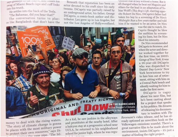 The Chief (Oren Lyons) and Leo (the Wolf of Wall Street) on the protest line (Rolling Stone)