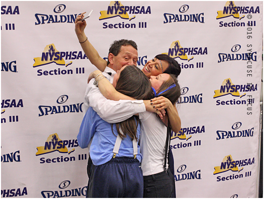Bishop Grimes Coach Bob McKenney takes a selfie with his family after his team won the Section III crown for class B.