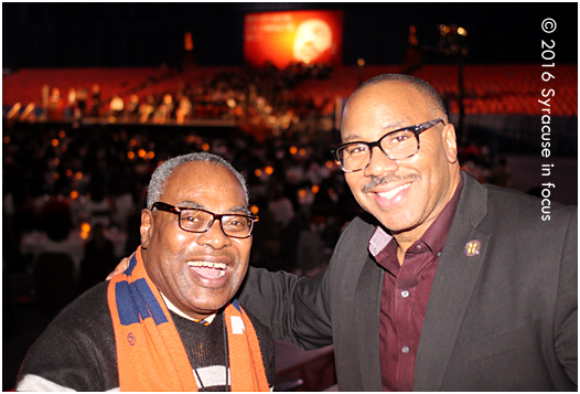 The Doctor and Uncle George: Professor Rick Wright and George Kilpatrick provided live commentary at the Dome for Syracuse University's Dr. Martin Luther King, Jr. Celebration.