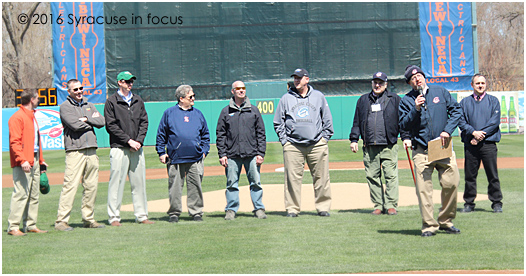 "Syracuse Chiefs GM Jason Smorol recognizes members of the Onondaga County Parks team before the April home opener this week (there will be another ""opener"" in June)."