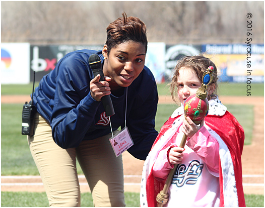 New Chiefs on-air personality Lena Pringle prepares young student Ava to be Queen for a Day at NBT stadium earlier this month.