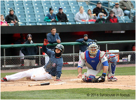 Trea Turner doubled in the bottom of the first inning and slide home safely a few batters later during the second game of yesterday's double header with Buffalo. Syracuse won the second game 4-3.