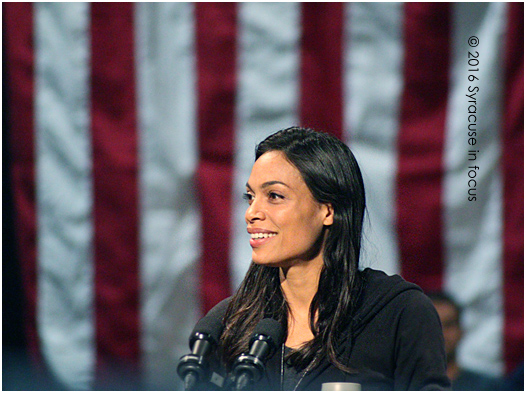 Actor Rosario Dawson gave a fiery, sophisticated, and informed speech before introducing Bernie Sanders in Syracuse today. Can a run for office be on the horizon, or at least a speaking slot during the Democratic Convention in Philly.