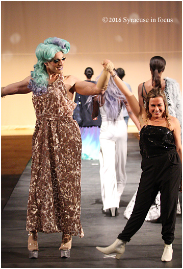 Ashley Blume takes a bow during the matinee Senior Collection Fashion Show on Thursday.