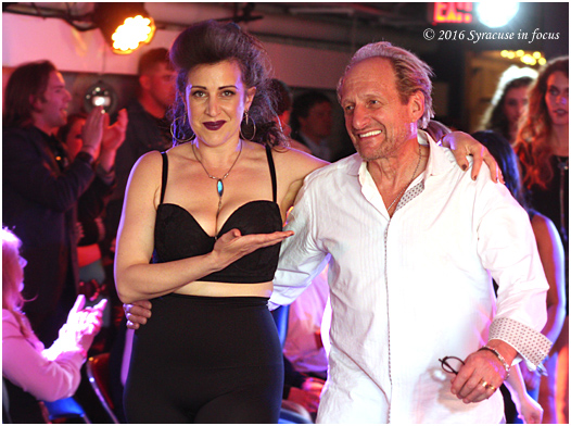 Tere Marie walks in with designer Ken Kushner during last night's Underground Show (Marisa's Fortress of Beauty)