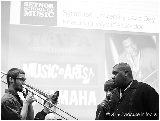 Renowned trombonist and teacher Wycliffe Gordon encourages a student to improvise during his class at Syracuse University on Saturday.