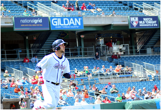 Matt Skole belted his first home run of the season yesterday during the win over Pawtucket.