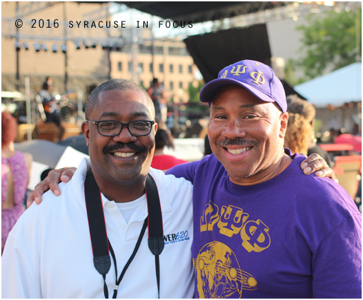 Radio exec Kenny Dees and media personality George Kilpatrick pictured here near the main stage earlier today. Kilpatrick helped organize the modern Juneteenth Celebration in Syracuse (back when it was held on South Avenue).