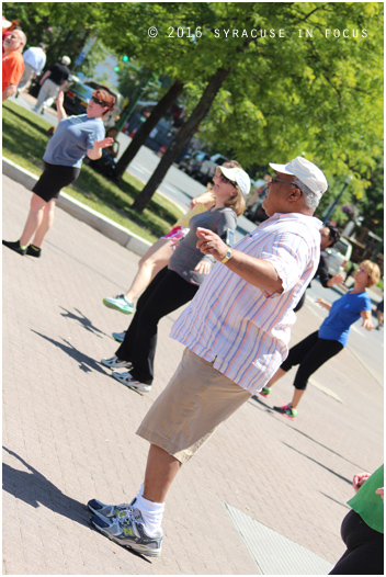 Retired SU Dean Melvin Stith participated in the Metro Zumba class in Clinton Square earlier this week.