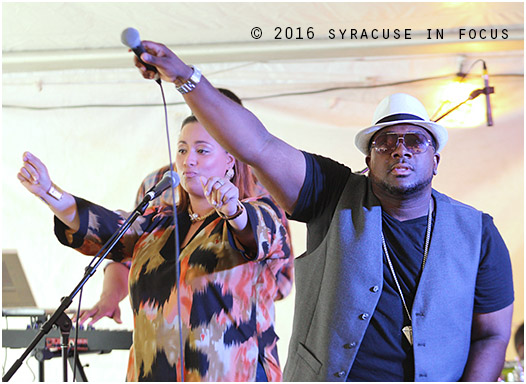 Jamel Lorick (right) and Tamar Smithers sang with Brownskin in the World Beat Pavilion on Saturday.