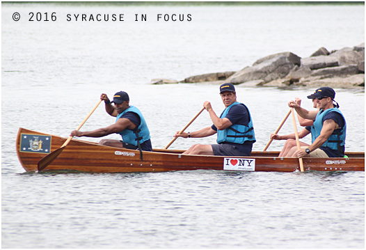 Team Cuomo rowed away from Willow Bay to begin the Onondaga Lake Cup race this morning.