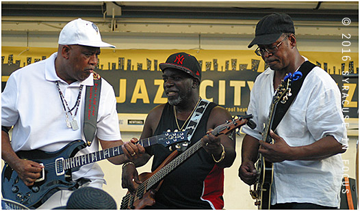 The Blacklites show featured several collaboration, such as this guitar contest.