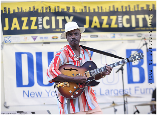 What a pleasant surprise. This guy played a guitar like  Bobby Womack, dressed like a dapper don, has a movie star name and sounds like the late Spencer Harrison. Colionne was the perfect choice for Jazz in the City's North Salina location.