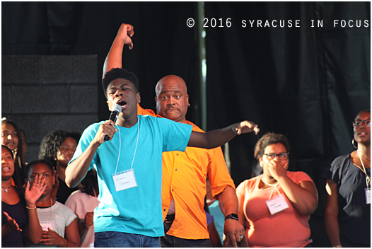Zyiere Edwards sang a solo during the New York State Gospel Choir show.