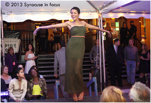 Alberta Qamar, modeling during Syracuse Style's Fashion Show on Walton Street (circa 2013).