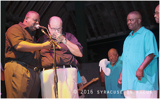 The Cuse' Music Scene has a special spirit of collaboration and is all about showing love  and recognizing good musicianship. Tonight Reggie Seigler (left), founder of JAMS presented a community award to Syracuse Jazz Fest Producer Frank Malfitano.