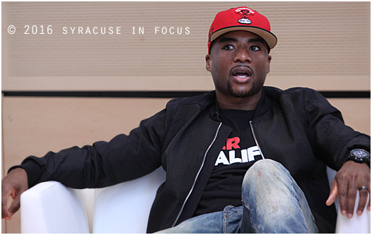 Radio and TV personality Charlamagne Tha God visited Syracuse University yesterday.