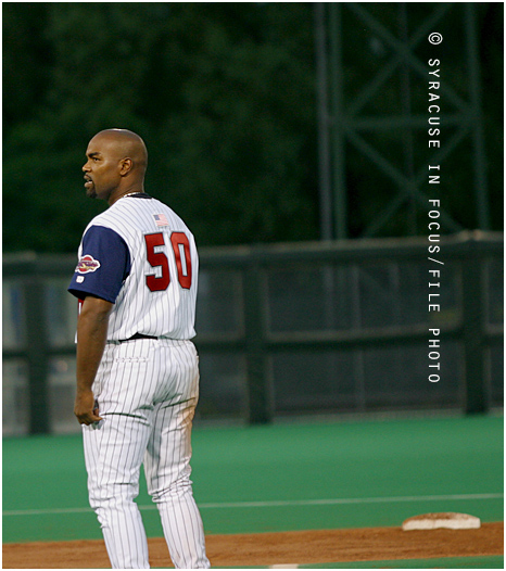 Carlos Delgado, playing in 2004 with the Syracuse Chiefs.