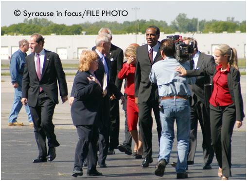 H. Carl McCall was the first African-American to be elected comptroller of New York. He is pictured here arriving at Exec Air in 2002 as the Democratic candidate for governor of New York.