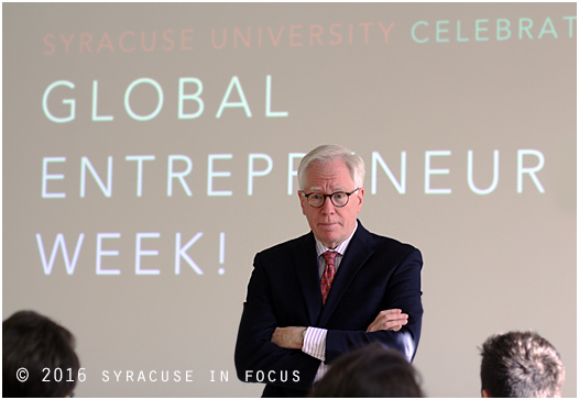 Carl Schramm,author, professor and founder of Global Entrepreneurship Week, gave a lunchtime talk at Bird Library on Monday.