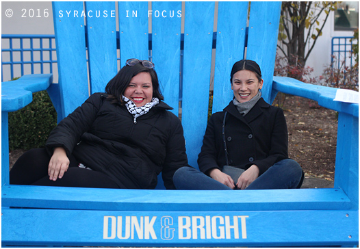 Isella Ramirez and Casey Wang, program managers from the Hester Street Collaborative in NYC visited Syracuse yesteday to give workshops. Before their talks they took a brief tour of the Brighton Street Corridor. They are pictured here outside Dunk & Bright Furniture.