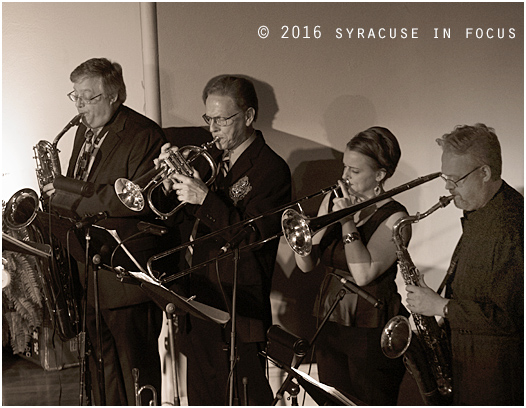 Brassman Jeff Stockham (second from left) put together a fantastic quartet he called the Syracuse Horns to back Professor Louie and Cromatix last night at the Homer Arts Center.