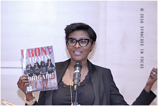 Veteran journalist Kierna Mayo visited Syracuse University's Newhouse School this year and talked about her provacative covers for Ebony Magazine.