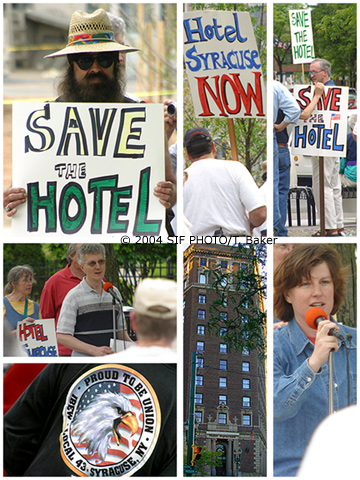 A small rally for the development of the now closed Hotel Syracuse was held at Columbus Circle yesterday.  Unfortunately our city has a history of tearing down our greatest assets and paving them over, according to Syracuse Common Councilor Stephanie Miner (pictured lower right), who was one of the officials who addressed the crowd.