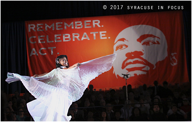SU student Miracle Rogers performed a liturgical dance during the Martin Luther King Jr. Celebration in the Carrier Dome.