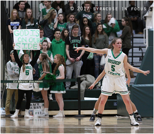 There were many signs to show that Bishop Ludden was in control for most of last night's victory over Westhill, including scoring 40 points in the first half. Game high scorer Danielle Rauch is pictured here on the defensive end, where she picked up two steals.
