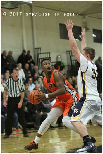 Despite not starting and playing limited minutes, Nahjeir Johnson put up a game-high 21 points, including a game-wining fade away jumper in Liverpool's 58-57 victory over West Genesee.
