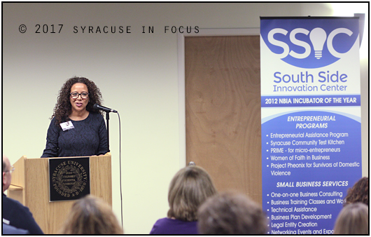 Lourdes Zaptaa, ?Executive Vice President, Division of Minority & Women's Business Development at Empire State Development, spoke at today's MWBE Expo of Central New York. The event was held at the South Side Innovation Center.