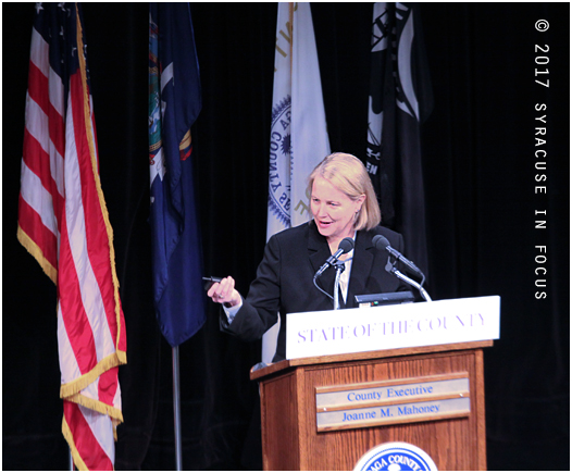 Onondaga County Executive Joanie Mahoney, who has always been a politician who has had a commitment to collaboration, gave her State of the County address yesterday at the Civic Center, and said although the country is healthy and strong she is still striving for a smaller, less expensive government.